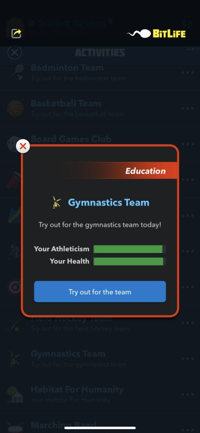 practicing gymnastics in bitlife