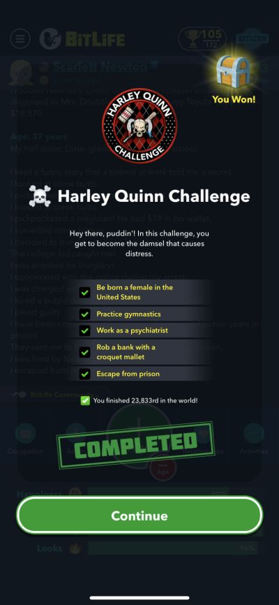 bitlife harley quinn challenge requirements