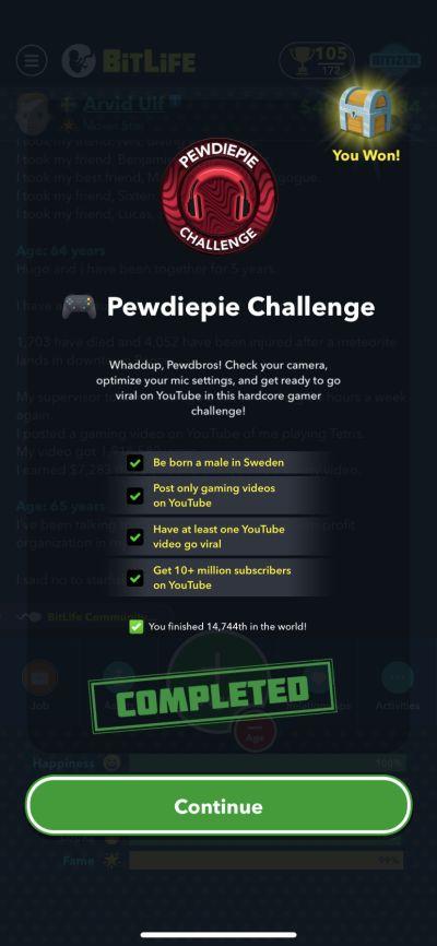 bitlife pewdiepie challenge requirements