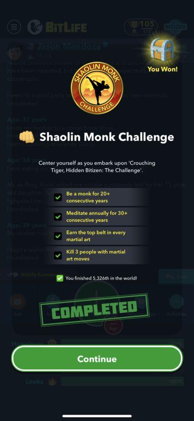 bitlife shaolin monk challenge requirements