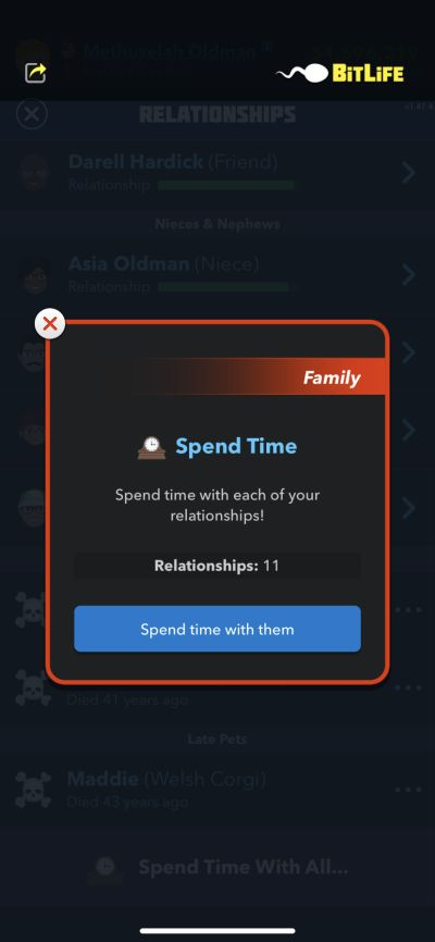 spending time with family in bitlife