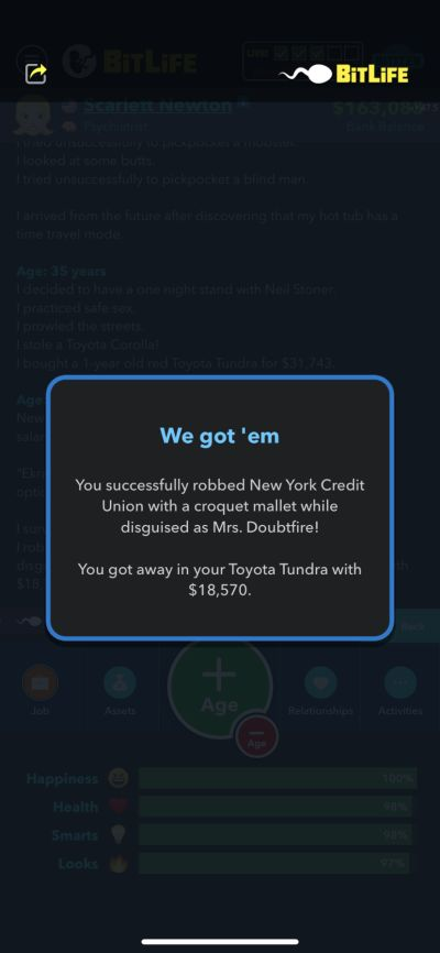successful robbery in bitlife