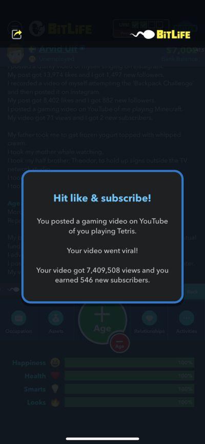 viral video in bitlife
