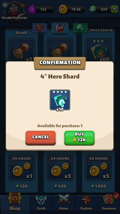 fable wars 4 star hero shard