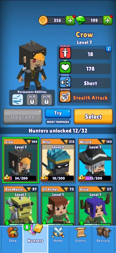 hunt royale hero stats