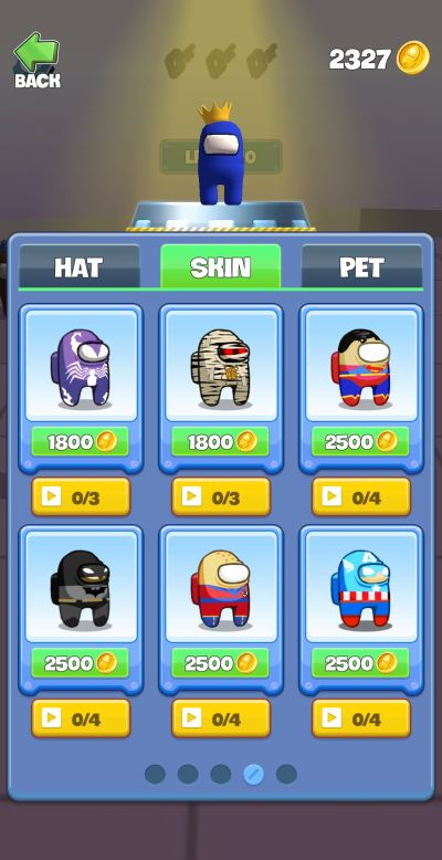 hats, skins and pets in imposter smashers