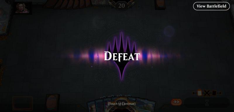 magic the gathering arena defeat