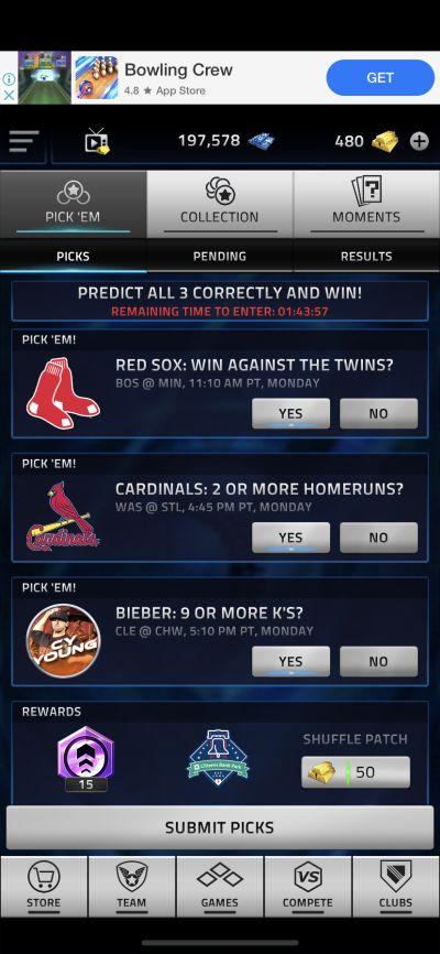 mlb tap sports baseball 2021 pick 'em