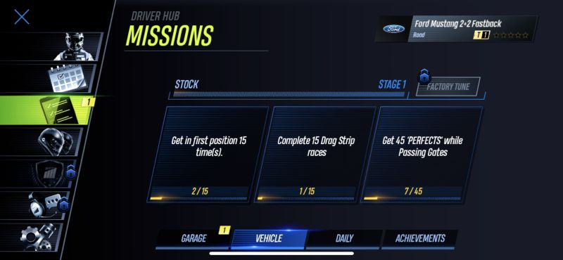 completing missions in project cars go