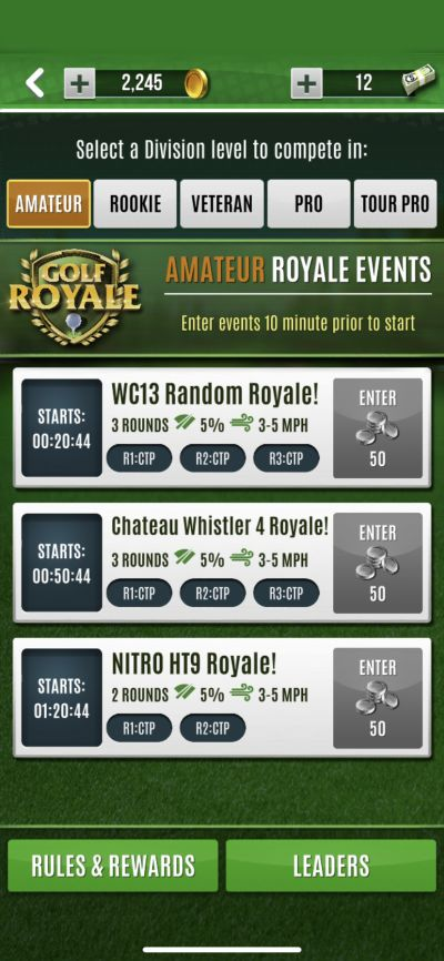 ultimate golf royale events
