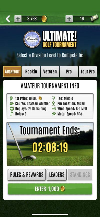 ultimate golf tournament mode