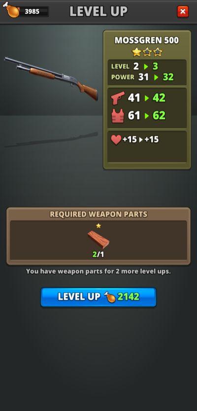 weapon leveling puzzle combat