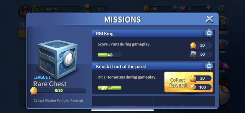completing missions in baseball clash