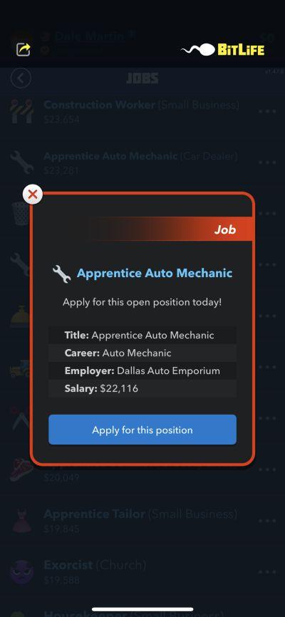 apprentice auto mechanic job in bitlife