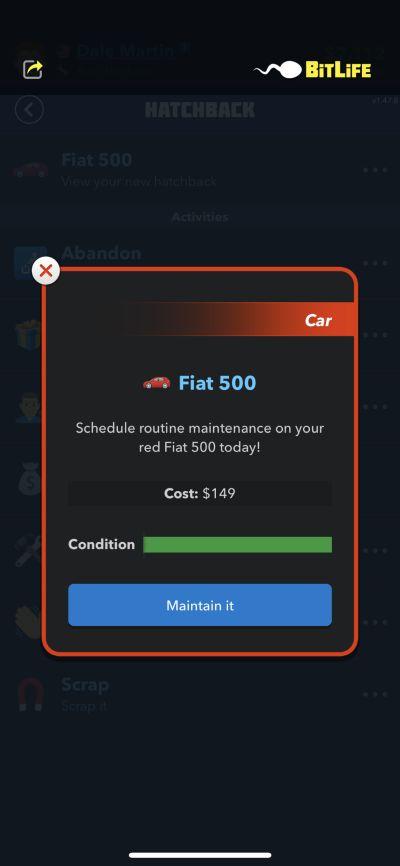 car maintenance in bitlife