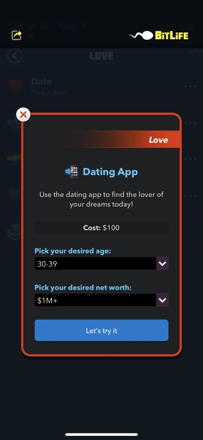 using the dating app in bitlife