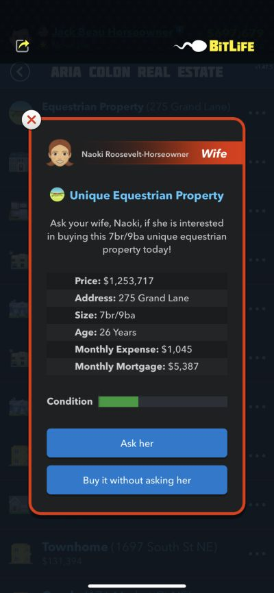 buying an equestrian property in bitlife