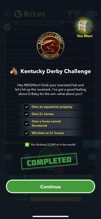 bitlife kentucky derby challenge requirements