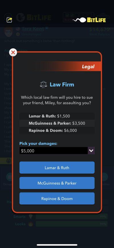 lawsuit in bitlife