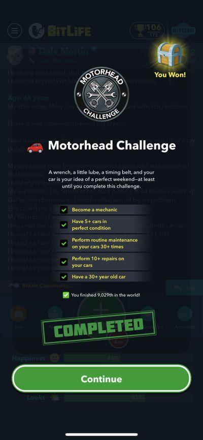bitlife motorhead challenge requirements