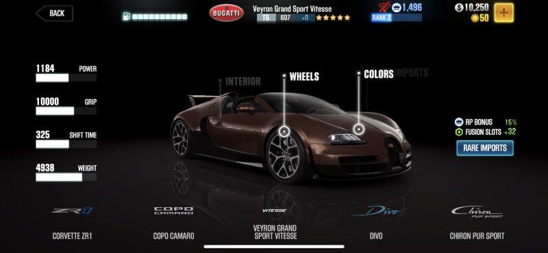 bugatti veyron grand sport vitesse csr racing 2