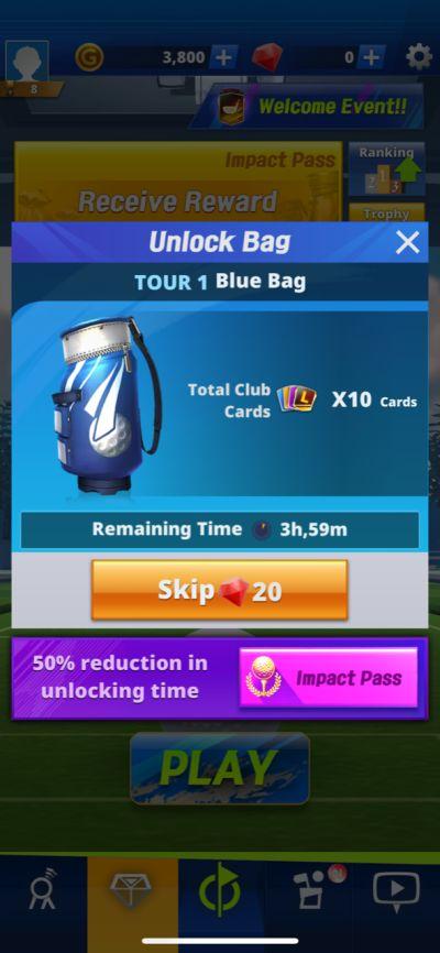 unlocking golf bag in golf impact
