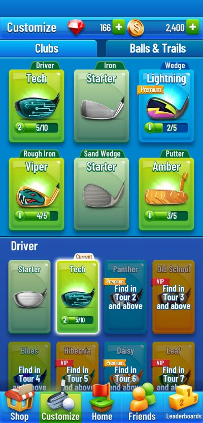 upgrading clubs in golf strike