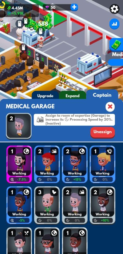 idle firefighter tycoon medical garage