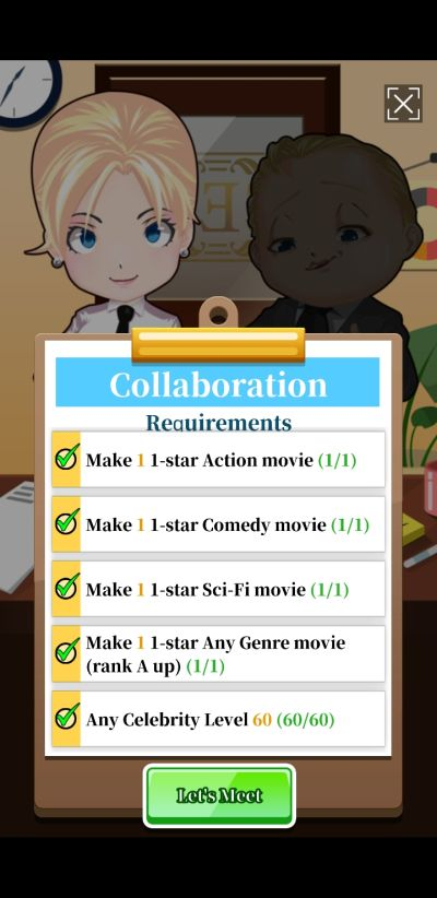 idle hollywood tycoon collaboration requirements