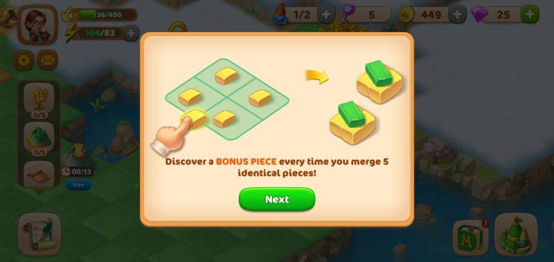 merging five items in merge tales