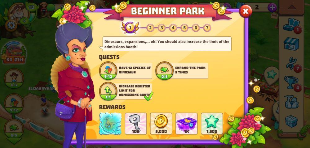 dinosaur park primeval zoo questline