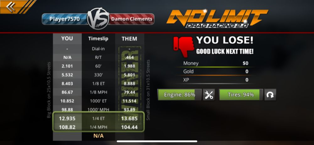 losing a race in no limit drag racing 2