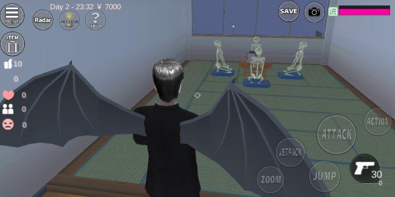 skeletons in sakura school simulator