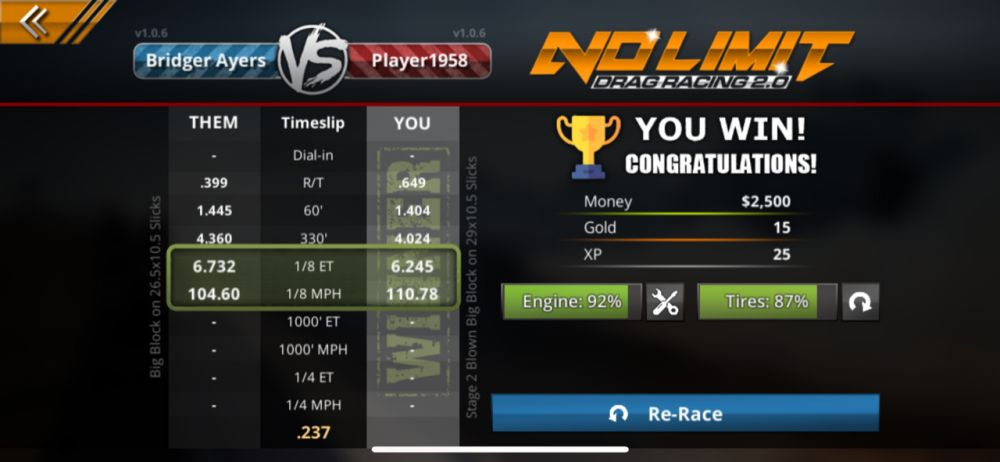 winning a race in no limit drag racing 2