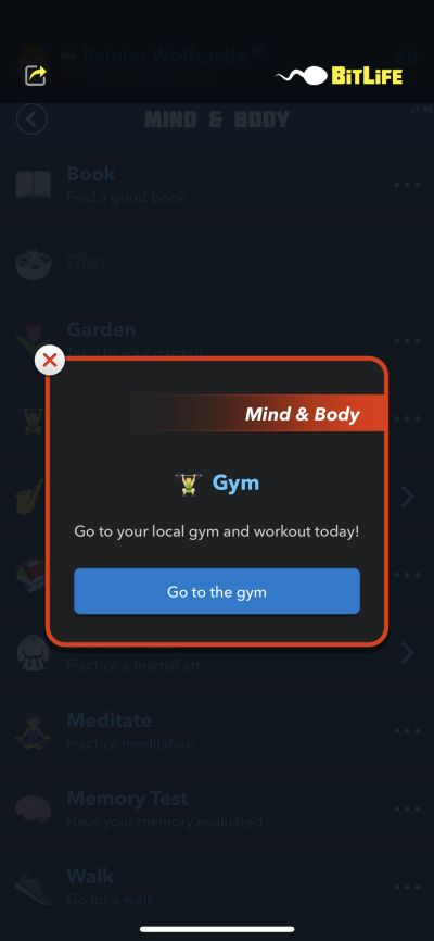 going to the gym in bitlife