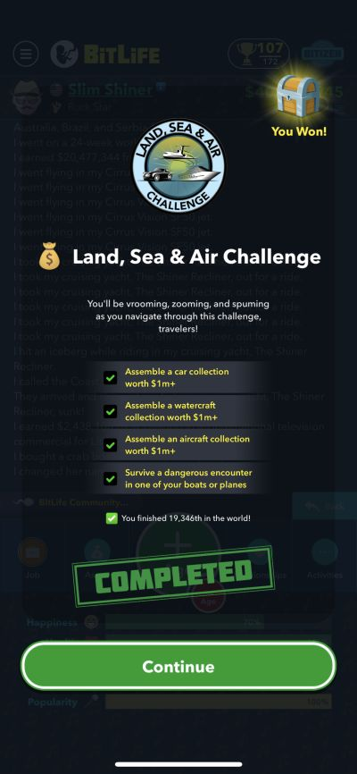 bitlife land, sea & air challenge requirements