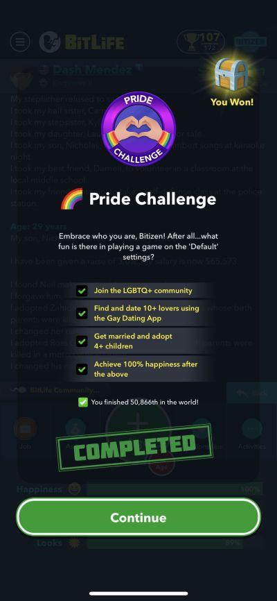 bitlife pride challenge requirements