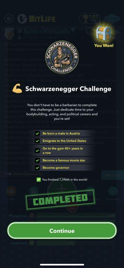 bitlife schwarzenegger challenge requirements