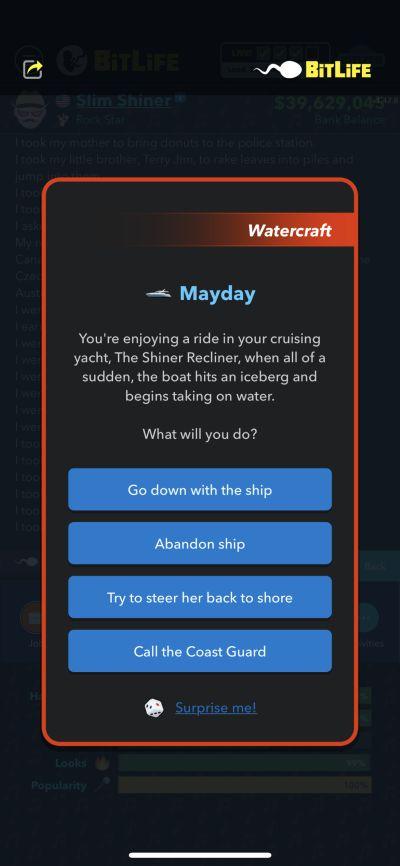 bitlife sinking ship