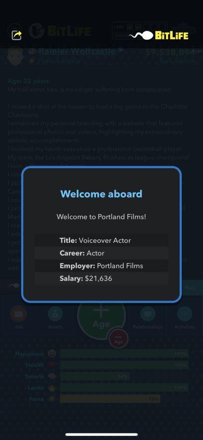 bitlife voiceover actor job
