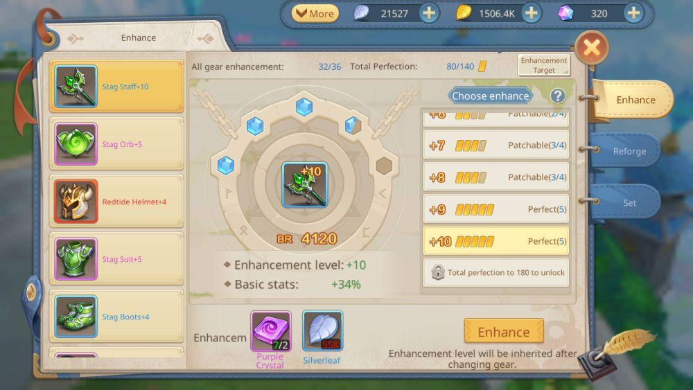 gear enhancement guardians of cloudia
