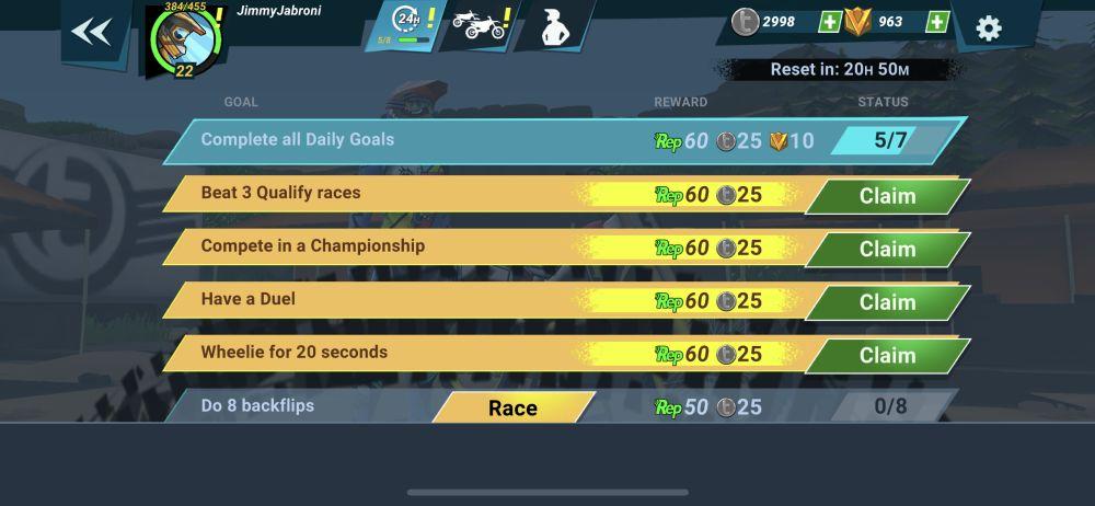 mad skills motocross 3 daily goals