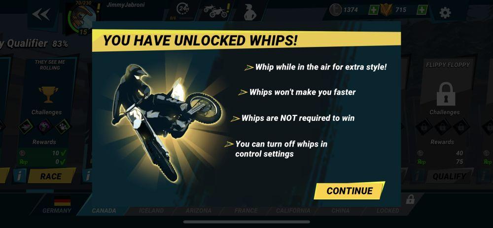 unlocking whips in mad skills motocross 3