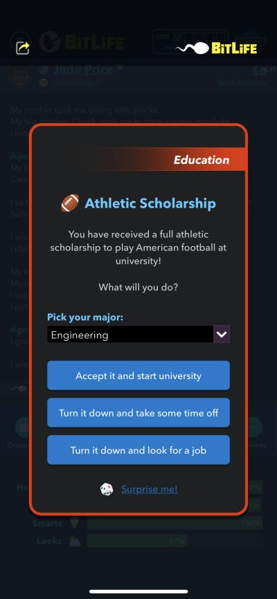receiving athletic scholarship in bitlife