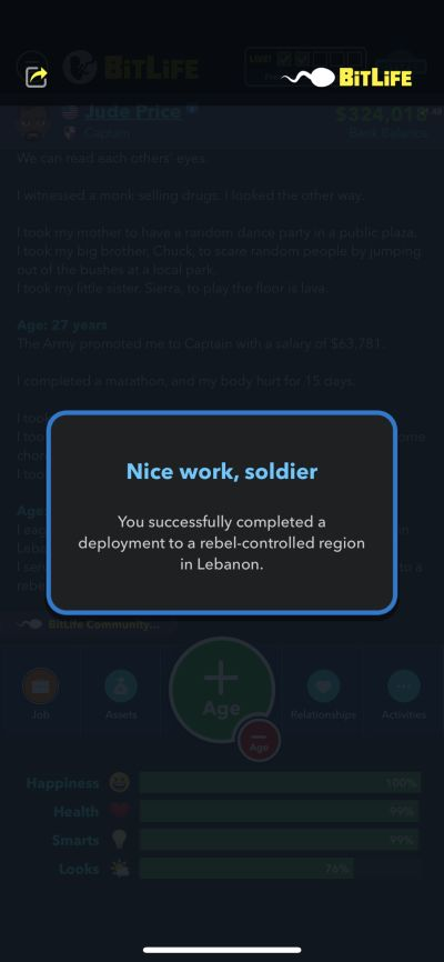 completing military deployment in bitlife
