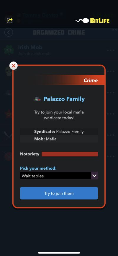 joining the local mafia in bitlife