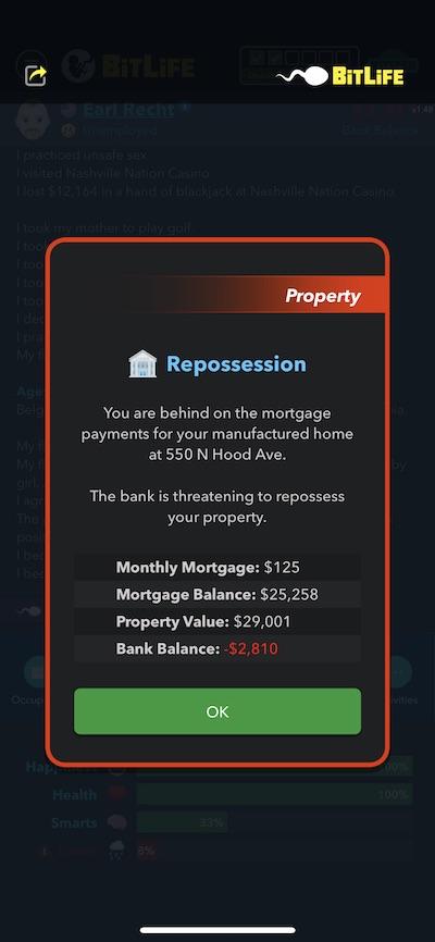 bitlife repossession