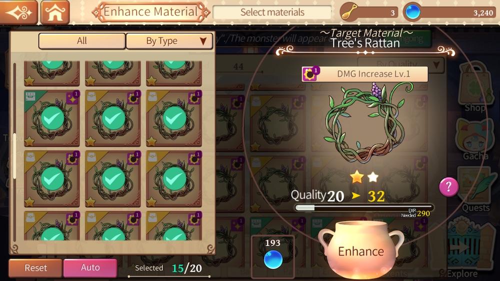 enhance materials in atelier online alchemist of bressisle