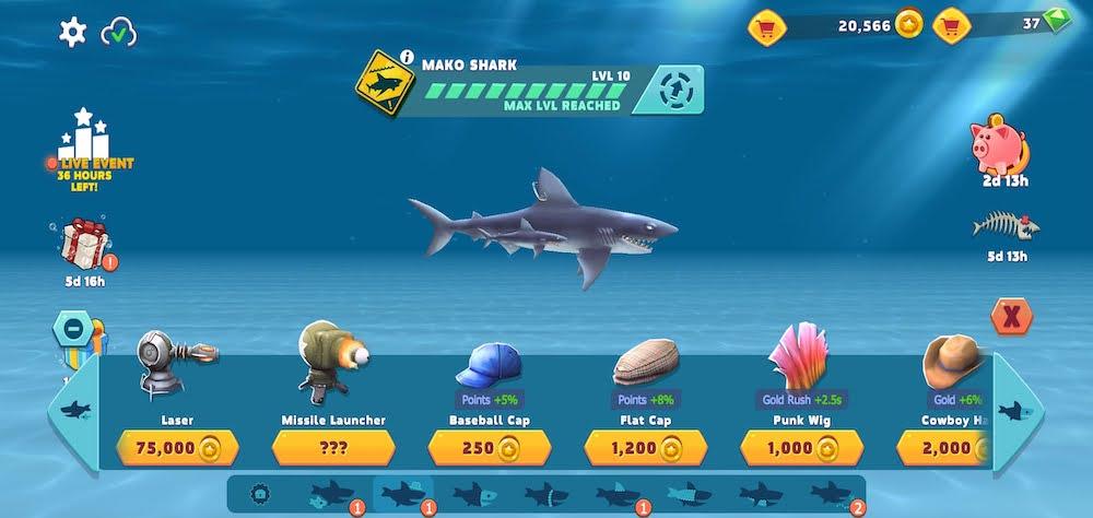 hungry shark evolution equipment