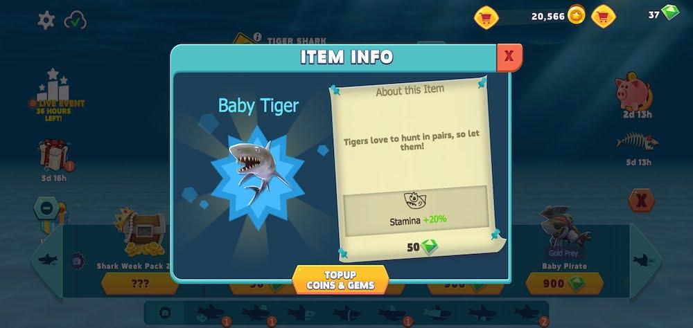 hungry shark evolution item info